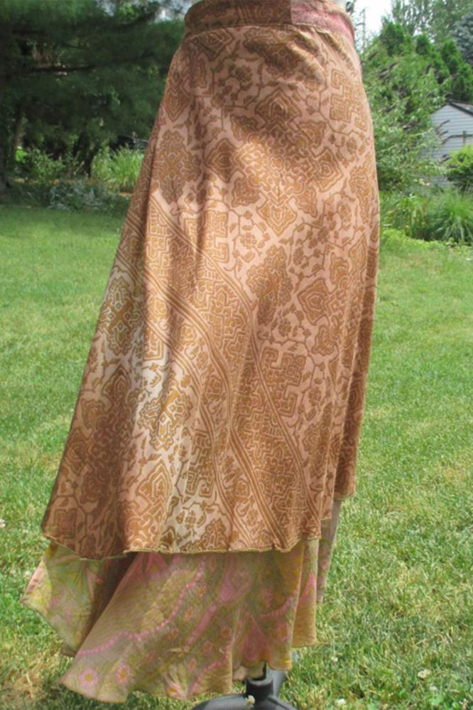 Vine Indian Silk Blend Sari Recycled Wrap Around Skirts Women Beach Dress Us