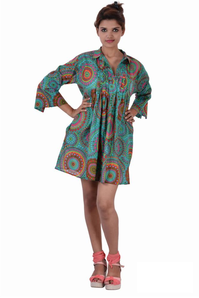 Cotton Printed C Green Color Dress