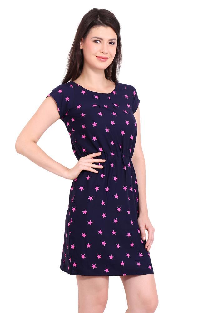 e1d66aca00d Solid Pink Star Printed Womens Party Wear Beachwear Casual Dresses Vestidos