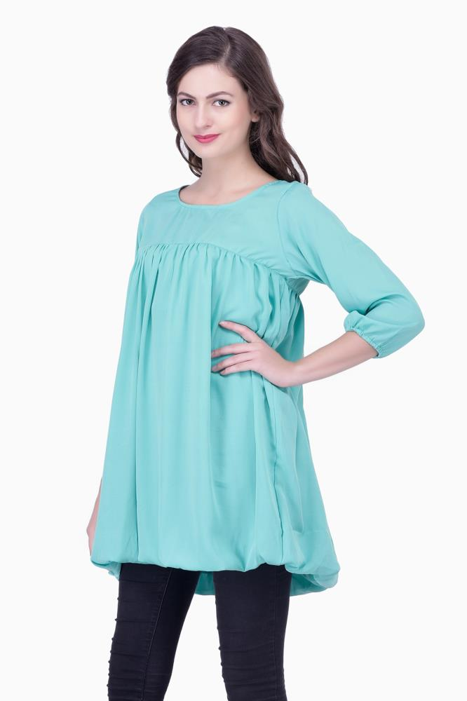Green Solid Women Party Wear Office Casual Tunic Tops
