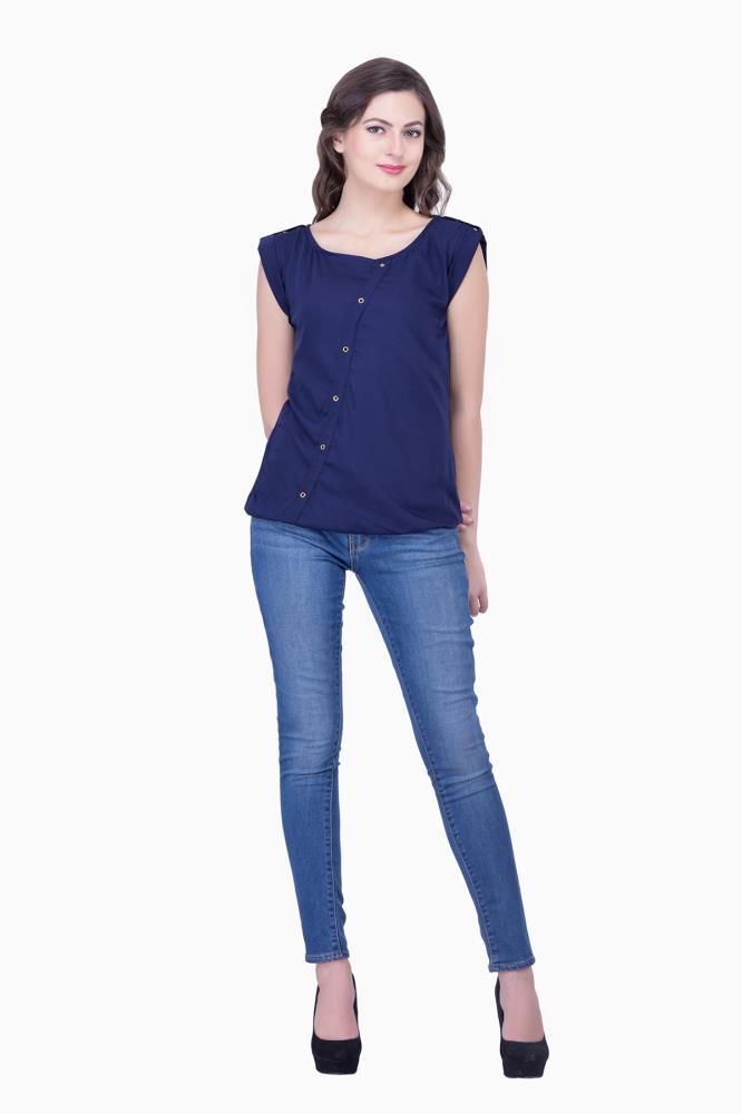 casual navy blue tops solid women party wear office wear