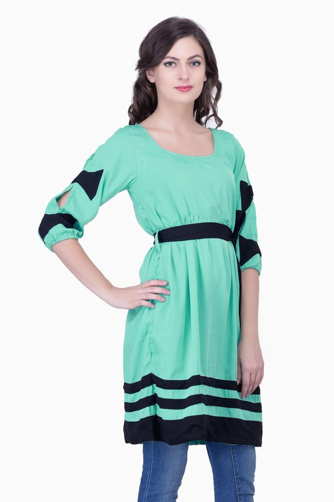 buy cute dresses with sleeves and bows green solid