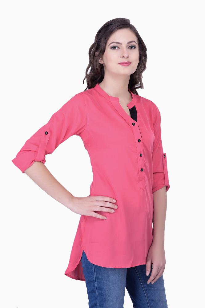 Pink Tops Solid Women Party Wear Office Casual Tunic Tunics For Online India Best Prices