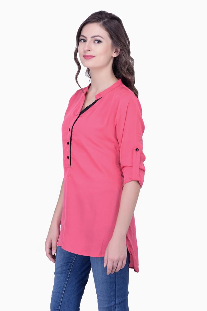 Pink Tops Solid Women Party Wear Office Casual Tunic