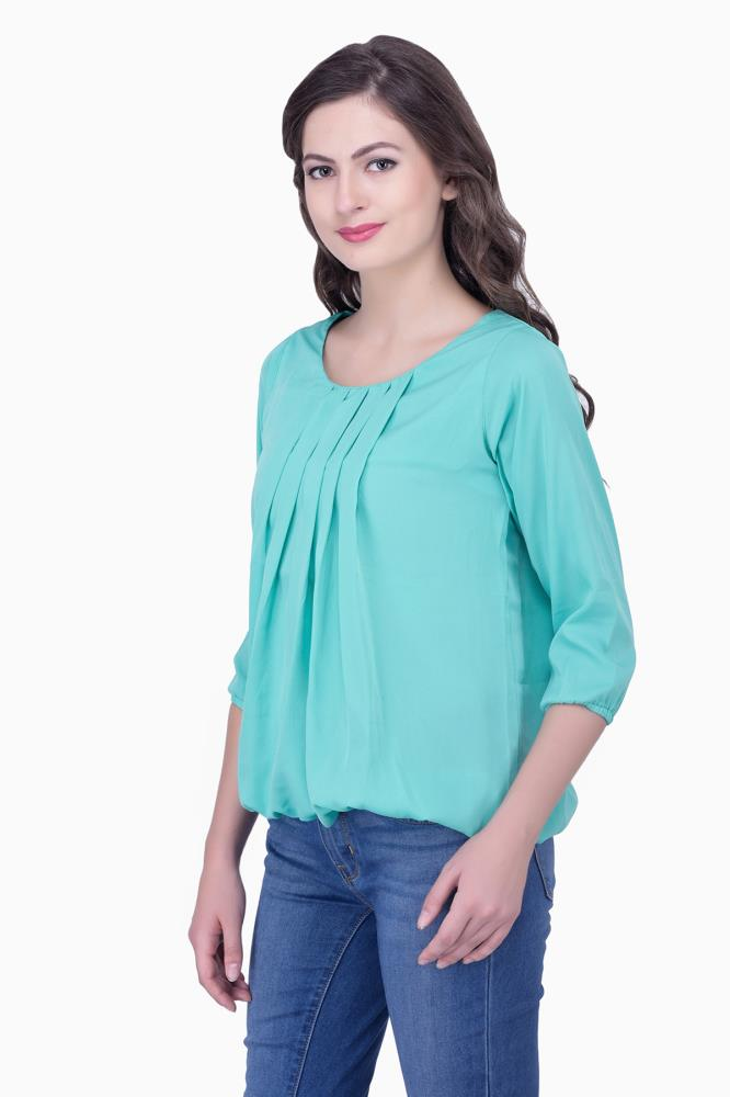 ddac964d965915 Buy Green Solid Women Party wear office wear Casual Tops Tunics for ...