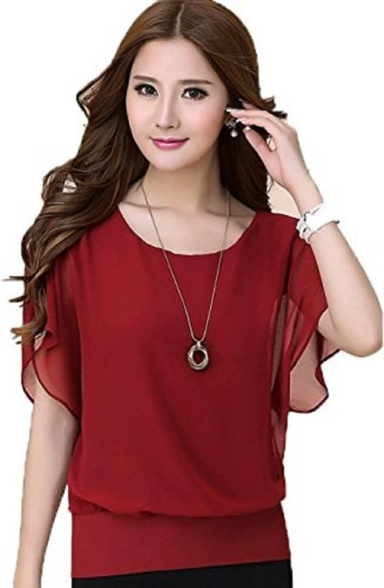 Casual Short Sleeve Solid Color Womens Red Tops Party Wear Short Sleeve