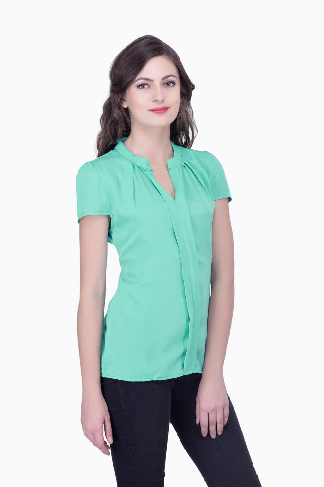 Green Solid Women Party Wear Office Casual Tops Tunics For Online India Best Prices