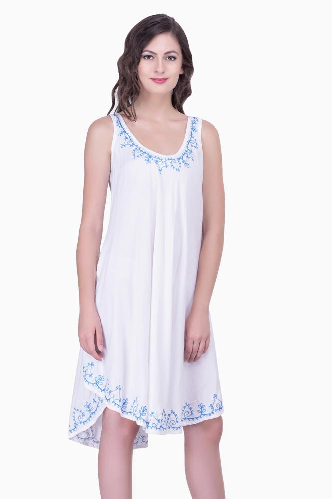 Casual Beachwear for Women dress White Embroidered