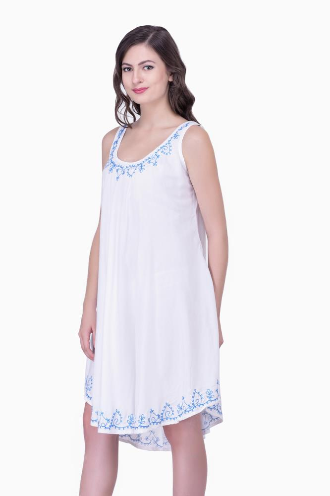 6b8e3d91ed Casual Beachwear for Women White Embroidered For Womens Party Wear  Beachwear Tunics Tops